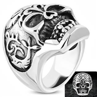 Ocelový motorkářský prsten - lebka OPR1738