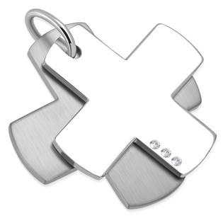 Ocelový přívěšek - křížek dvojitý