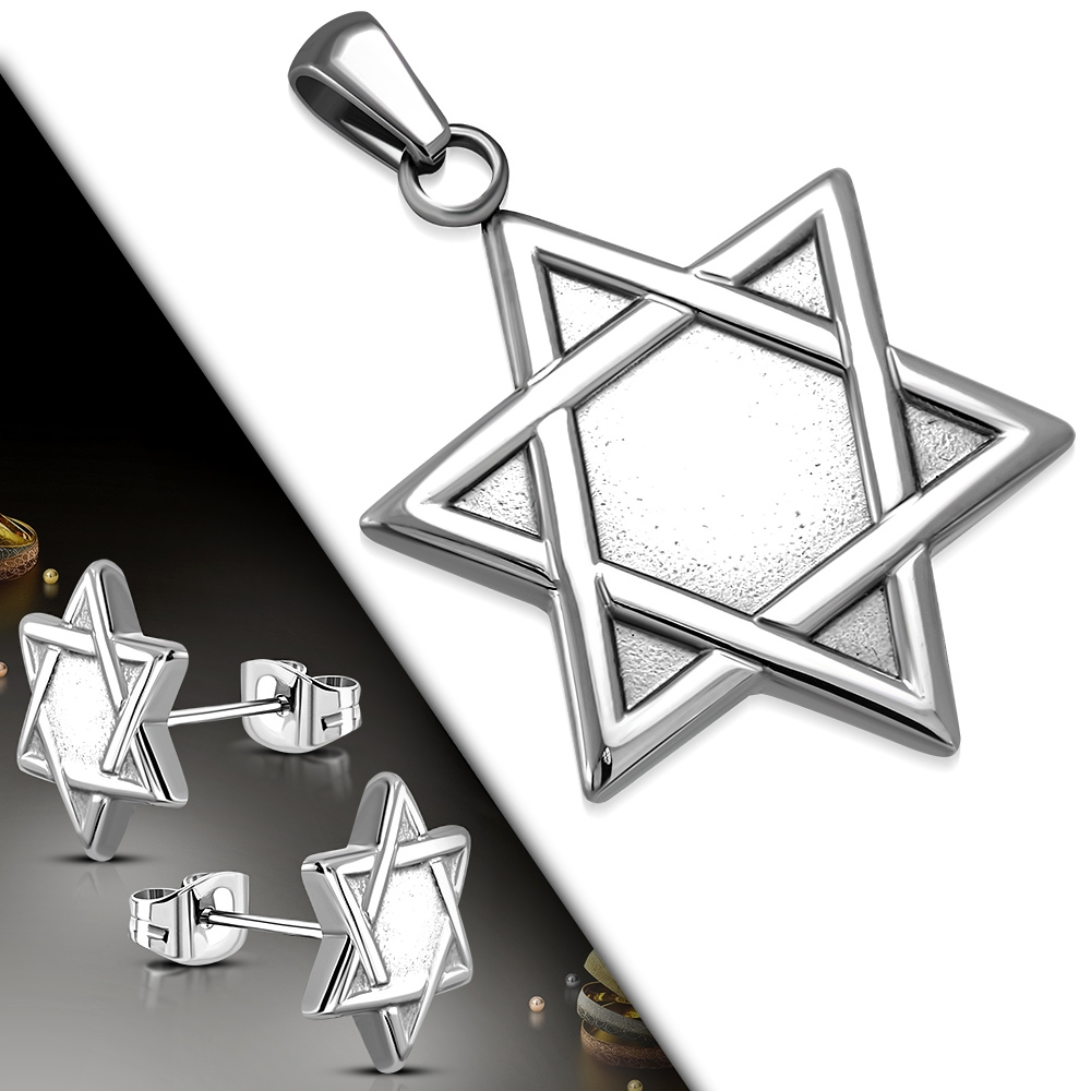 Souprava šperků z chirurgické oceli - židovská hvězda