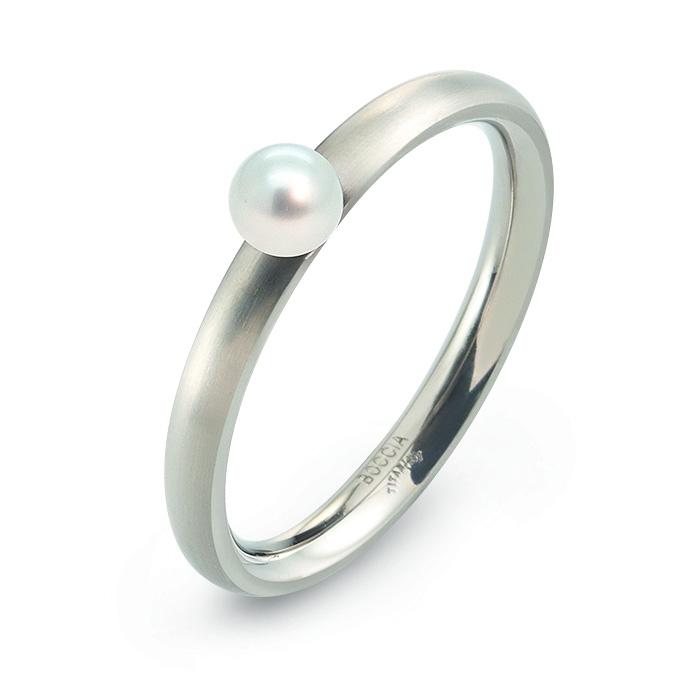 Titánový prsteň s perlou BOCCIA® 0145-01