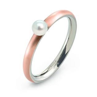 Zlacený titanový prsten s perlou 0145-03
