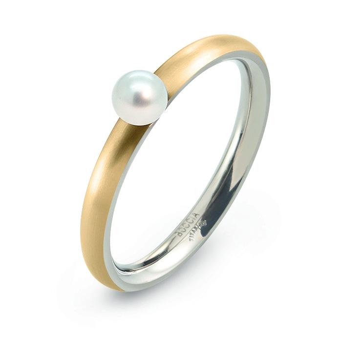 Pozlátený titánový prsteň s perlou BOCCIA® 0145-02