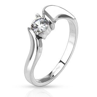 Dámsky oceľový prsteň so zirkónom