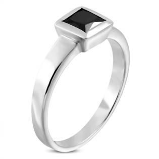 Ocelový prsten s černým zirkonem