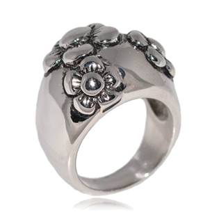 Ocelový prsten s kytičkami OPR1018 vel.57