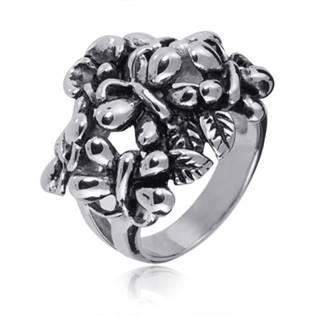 Ocelový prsten s motýlky OPR1042