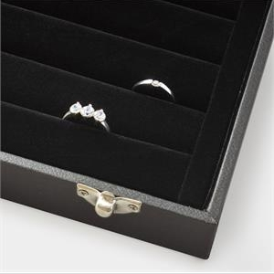 Černé koženkové plato na prsteny s víkem