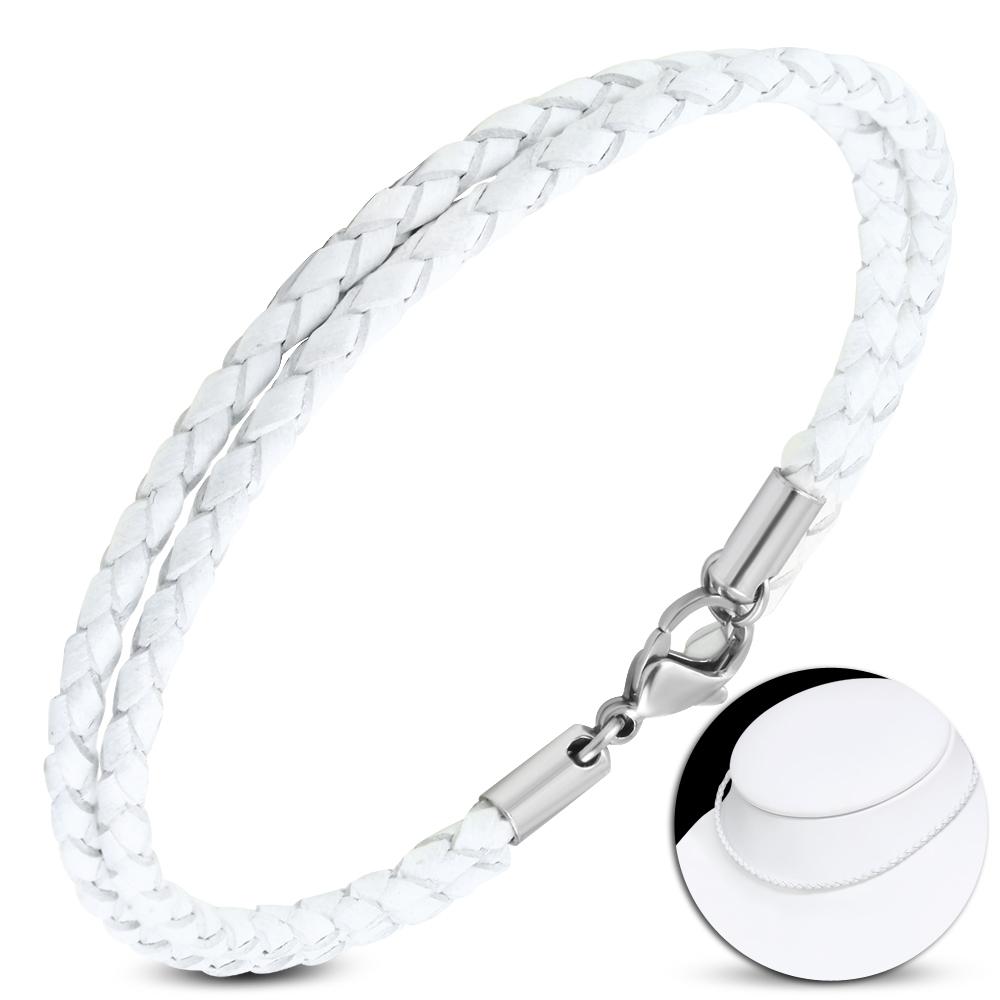 Kožený náhrdelník splietaný - oceľový uzáver, hr. 3 mm, dĺžka 45 cm