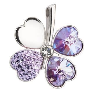 Stříbrný přívěšek čtyřlístek s krystaly Crystals from Swarovski® Violet