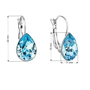 Náušnice bižuterie se Swarovski krystaly slza, Aqua