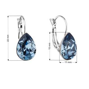 Náušnice bižuterie se Swarovski krystaly slza, Denim Blue