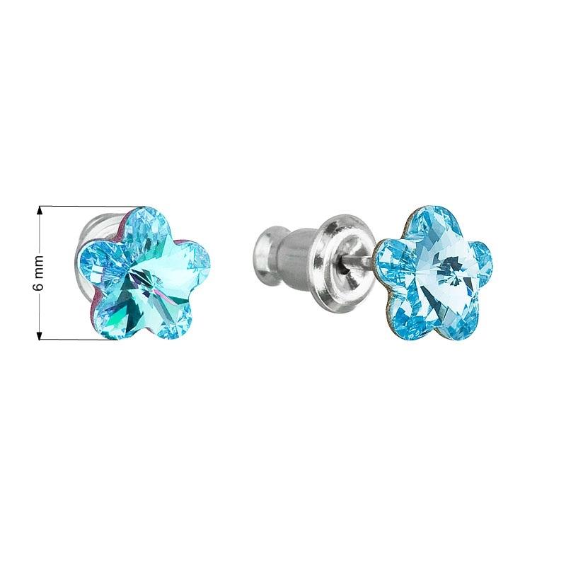 Náušnice bižutéria so Swarovski kryštálmi, Aquamarine