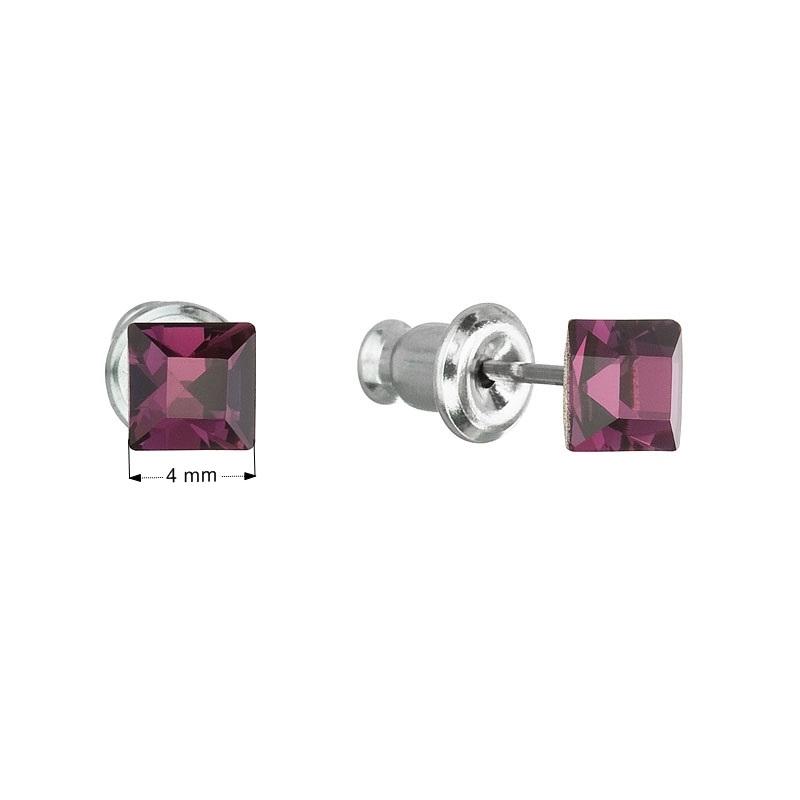 Náušnice bižutéria so Swarovski kryštálmi fialová štvorec amethyst