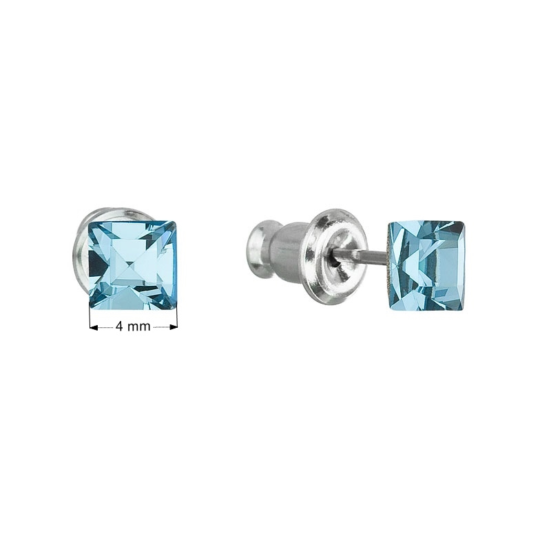 Náušnice bižutéria so Swarovski kryštálmi modrá štvorec