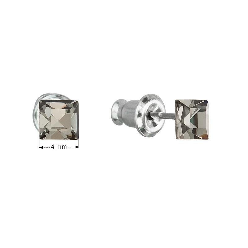Náušnice bižutéria so Swarovski krystalym, Black Diamond