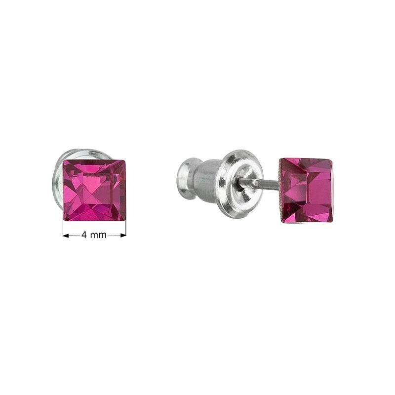 Náušnice bižutéria so Swarovski kryštálmi ružová štvorec fuchsia