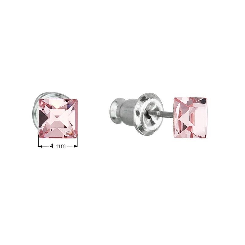 Náušnice bižutéria so Swarovski kryštálmi ružová štvorec light rose
