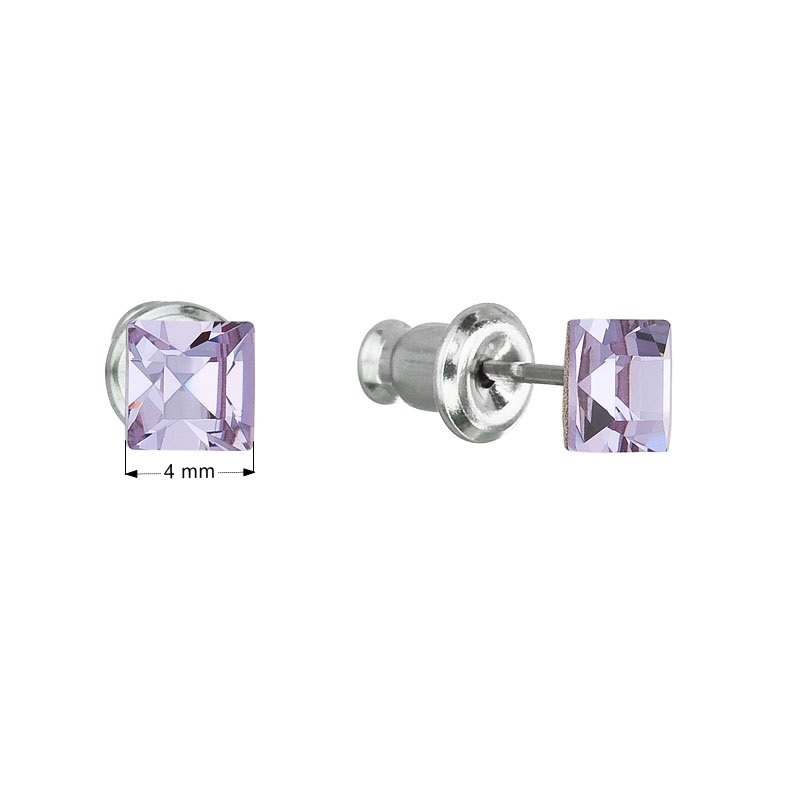Náušnice bižutéria so Swarovski kryštálmi fialová štvorec violet