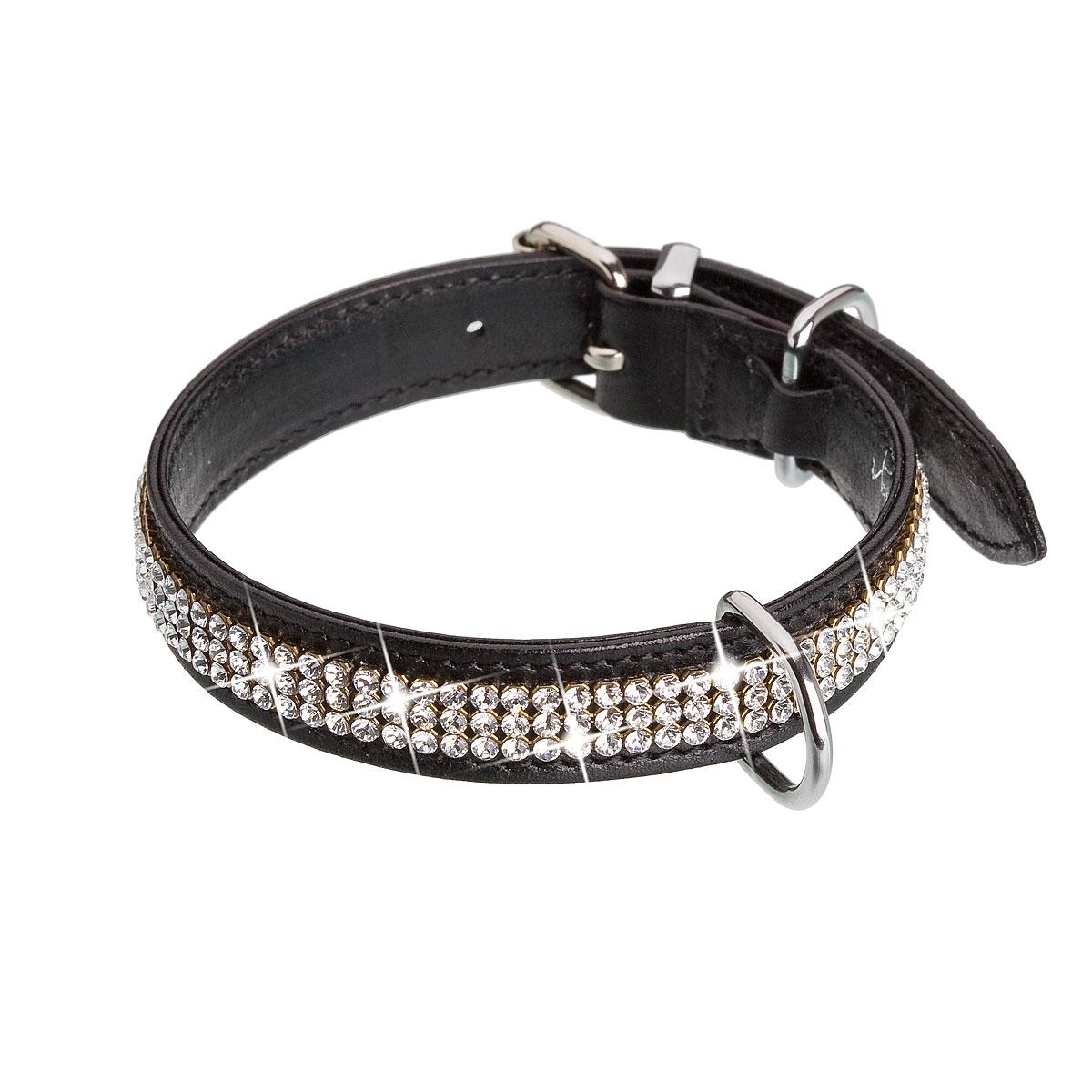 Černý psí obojek s krystaly Crystals from Swarovski®