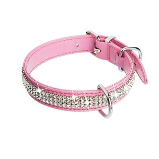 Růžový psí obojek s krystaly Crystals from Swarovski®
