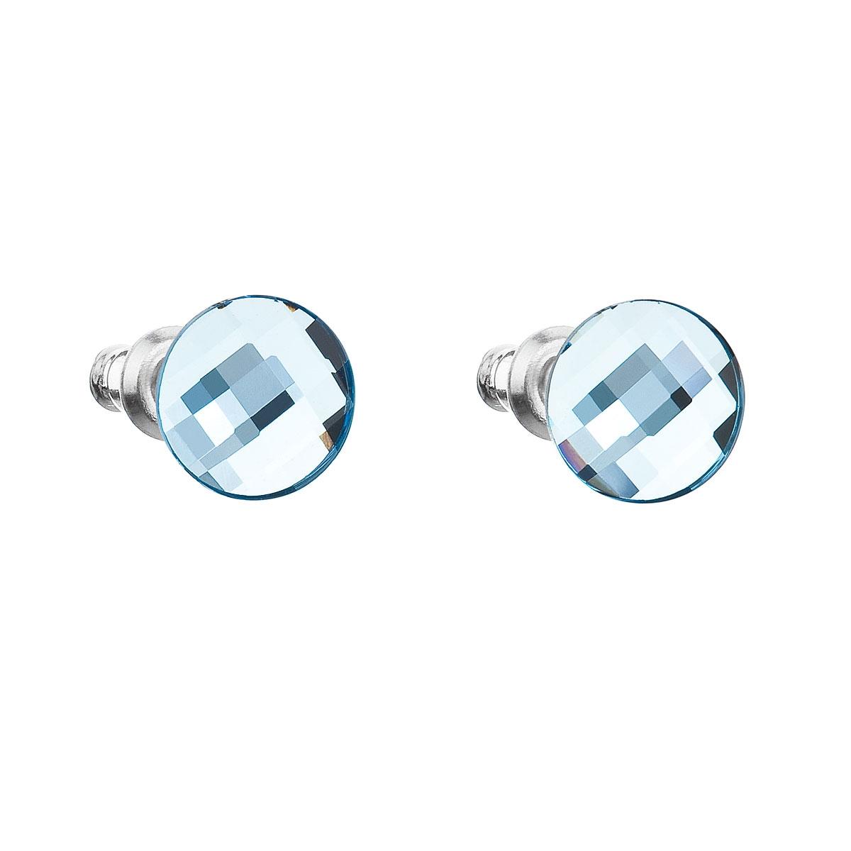 Náušnice bižutéria so Swarovski kryštálmi guľaté, Aqua