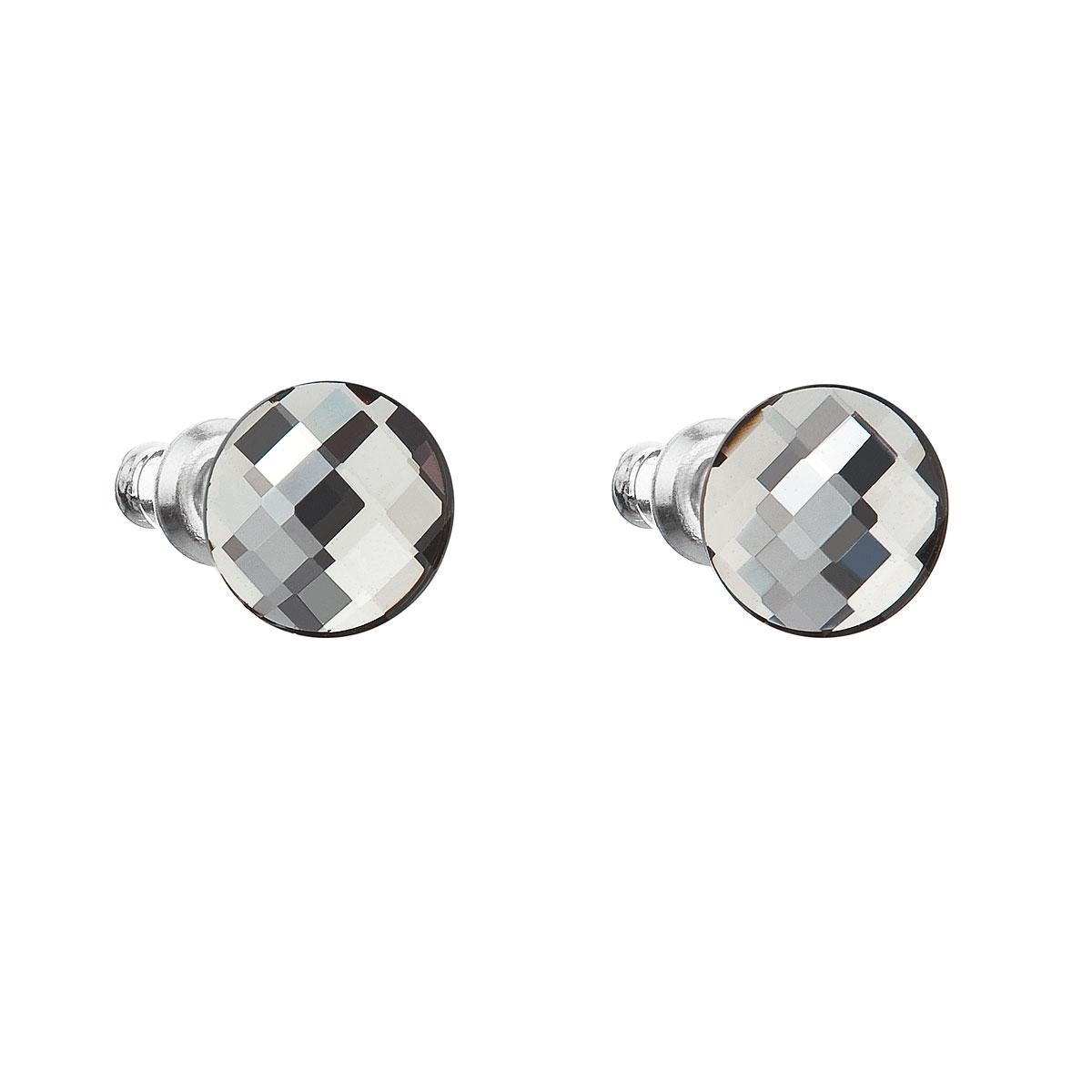 Náušnice bižutéria so Swarovski kryštálmi guľaté, Black Diamond
