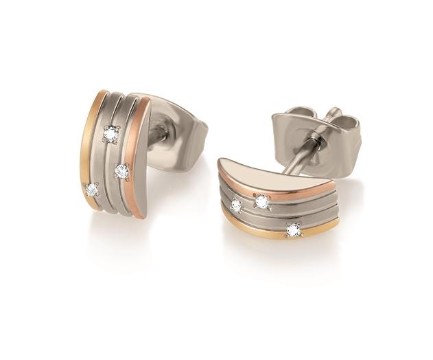 Titánové náušnice s dimantami BOCCIA® 05006-03