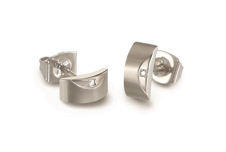 Titánové náušnice s diamantmi BOCCIA® 05007-02