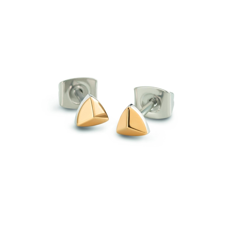 Zlacené titanové náušnice trojúhelníky 05015-02 B05015-02
