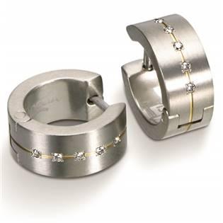 Titanové náušnice kroužky s diamanty BOCCIA® 0503-11