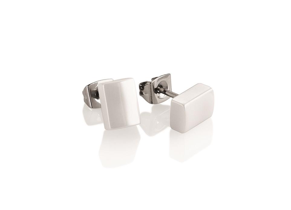 Titanové náušnice obdélníky s bílou keramikou 0509-10