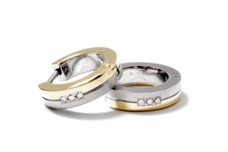 Pozlátené titánové náušnice krúžky s diamantmi BOCCIA® 0510-09