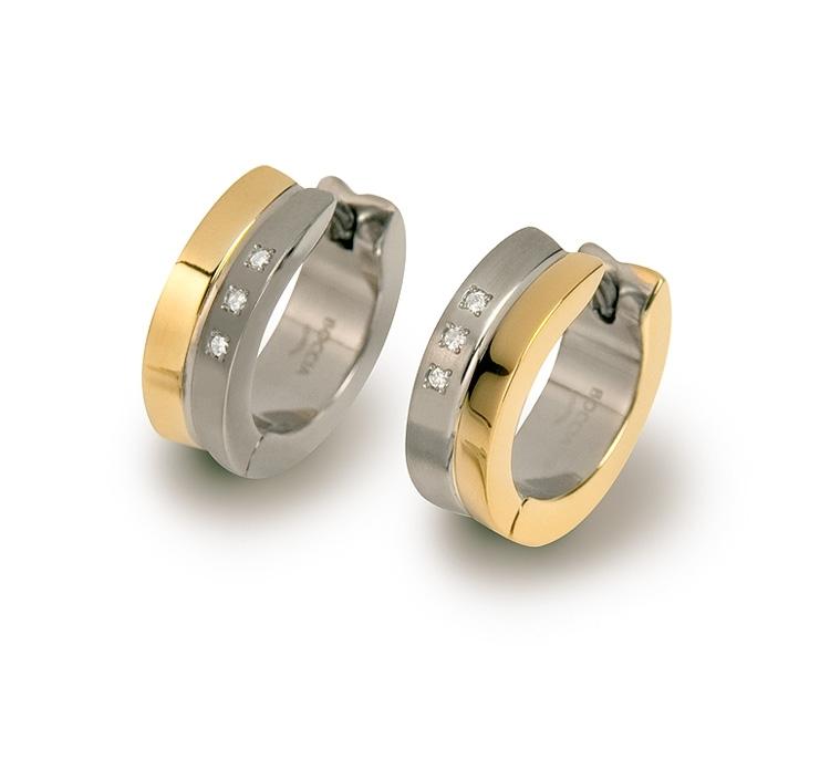 Titanové náušnice kroužky s diamanty 0511-04