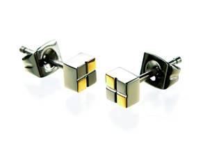 Titanové náušnice čtverečky BOCCIA® 0518-03