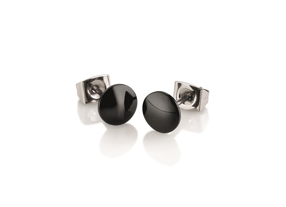 Titanové náušnice s černou keramikou 0581-02