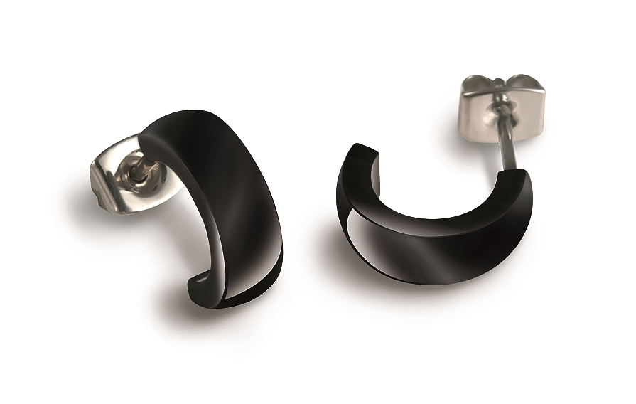 Titanové náušnice s černou keramikou 0584-02