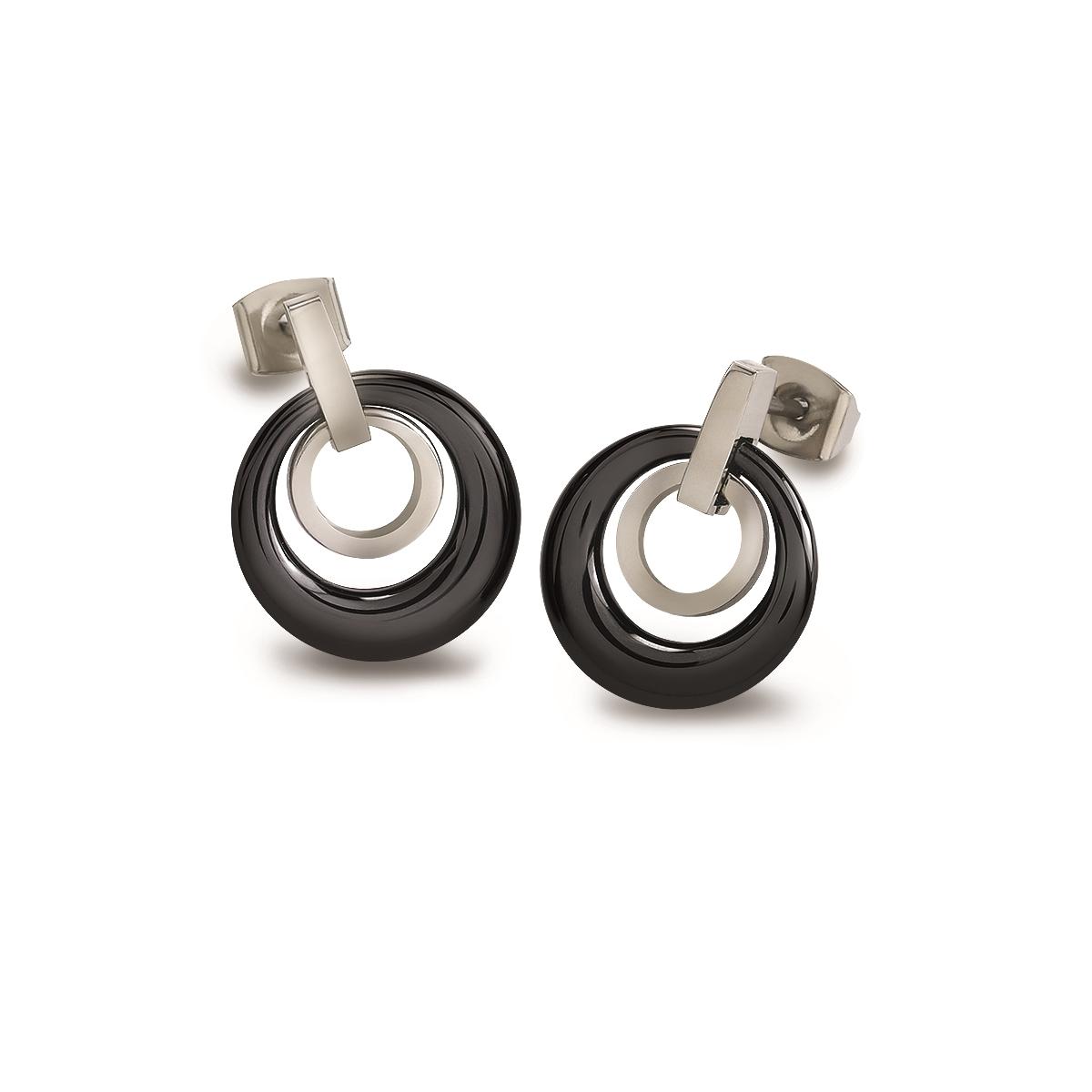 Titanové náušnice s černou keramikou 0588-02