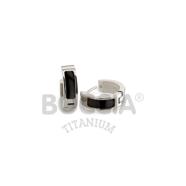 Titanové náušnice kroužky s keramiku 0593-02