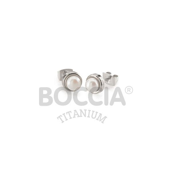 Titánové náušnice s perličkou BOCCIA® 0594-01