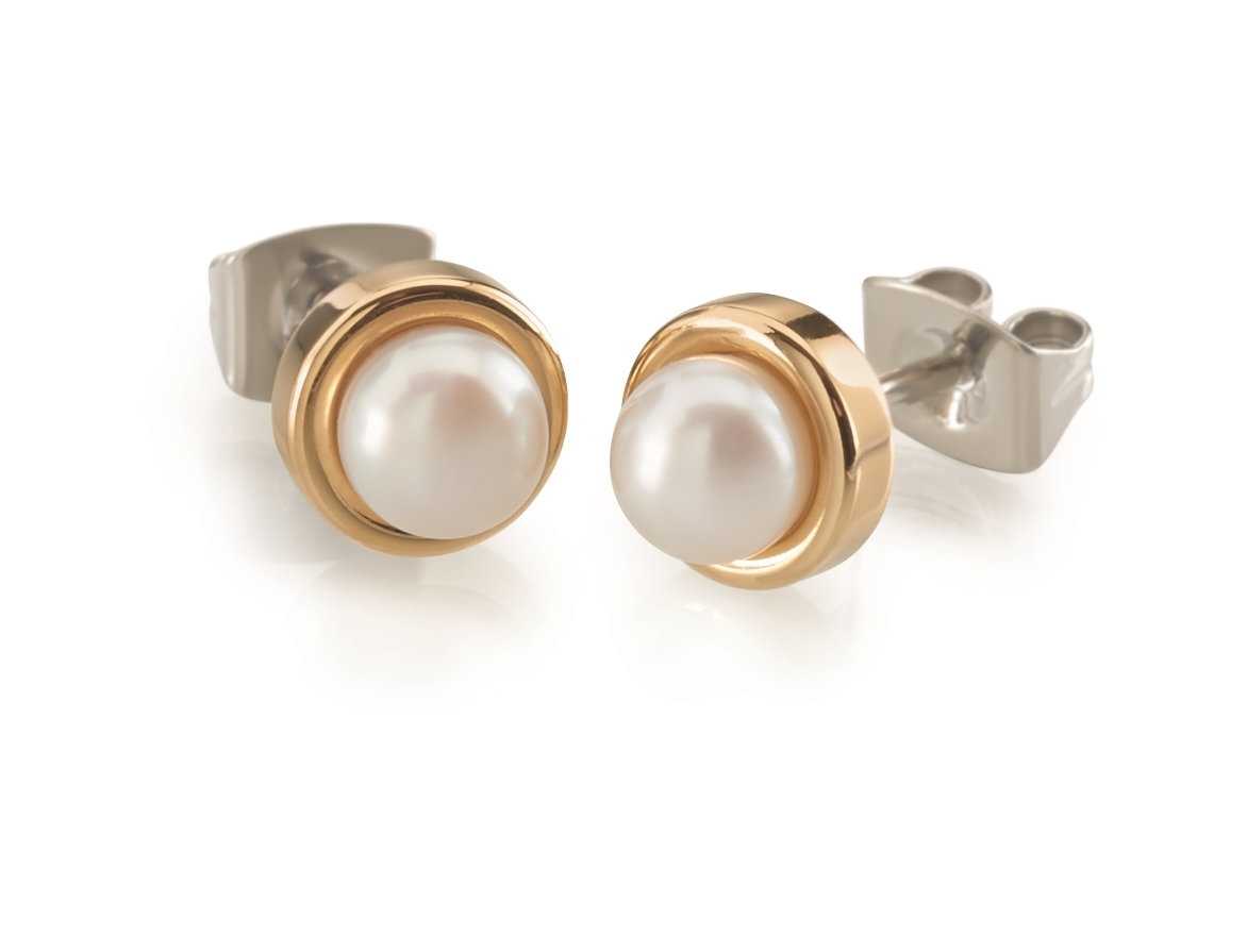 Titánové náušnice s perličkou BOCCIA® 0594-02