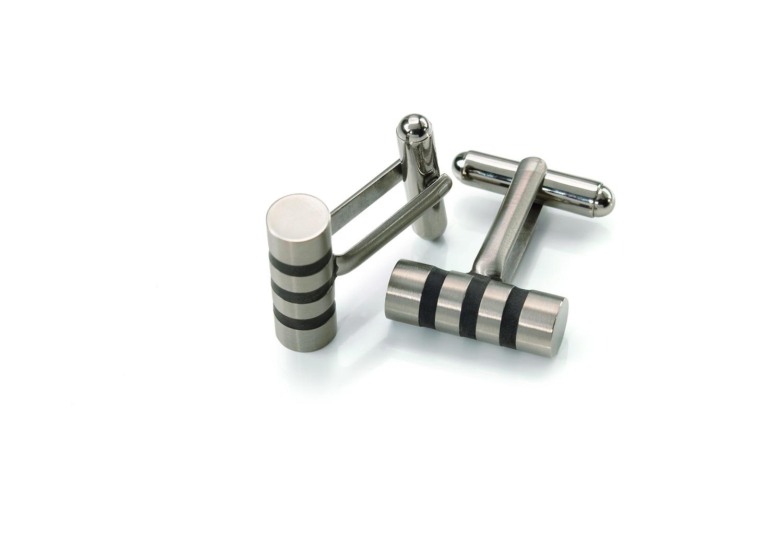 Titánové manžetové gombíky s prúžkami BOCCIA® 0605-03