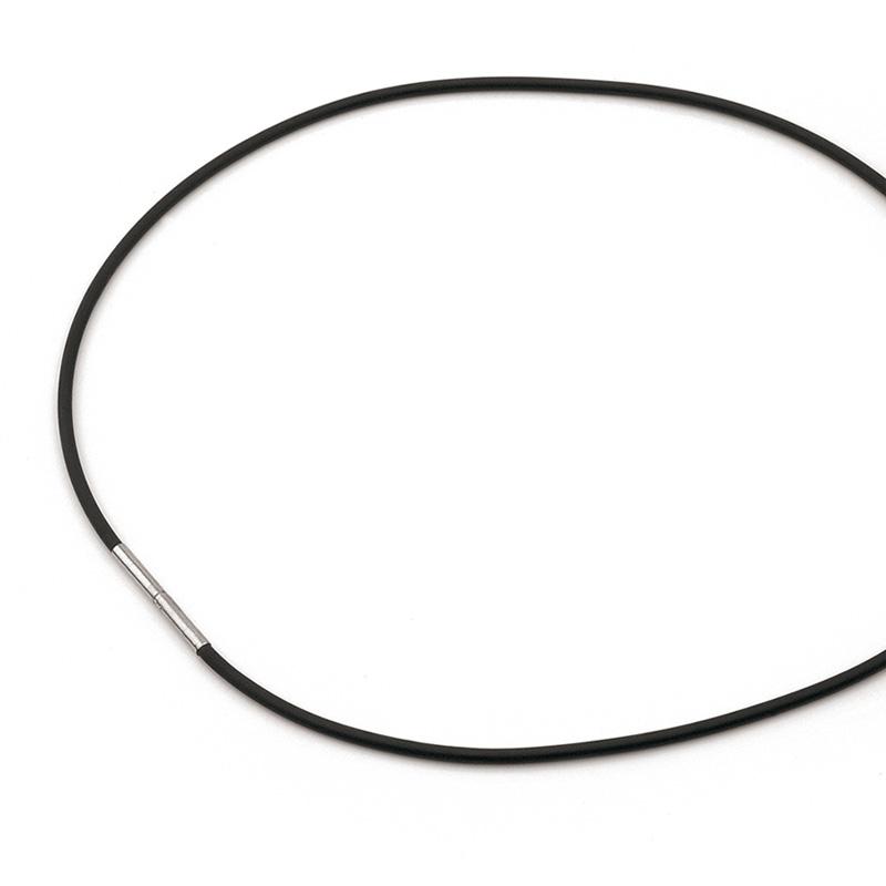Čierna kožená šnúrka na krk BOCCIA® 0801-0142, dĺžka 42 cm