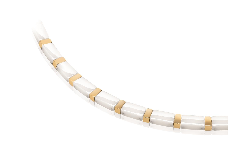Titanový náhrdelník zlcený s bílou keramikou 0845-05