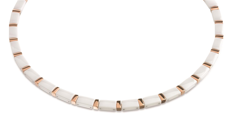 Titanový náhrdelník zlacený s bílou keramikou 0845-06