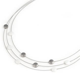 Titanový náhrdelník s bílou keramikou 0852-04