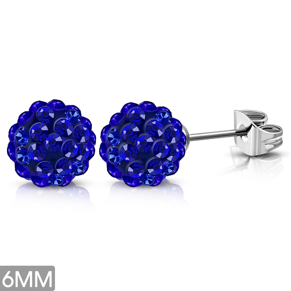 Ocelové náušnice Disco Ball, Blue