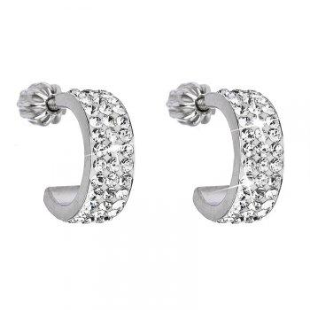 Stříbrné náušnice s krystaly Crystals from Swarovski®, kruhy 12 mm EG2031-CC