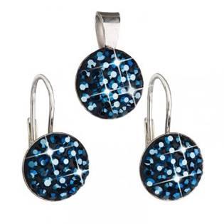 Stříbrný set náušnic a přívěšku s krystaly Crystals from Swarovski®, Metalic Blue