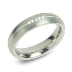 BOCCIA® Dámský titanový snubní prsten s diamanty 0130-03 - velikost 61 - 0130-0361