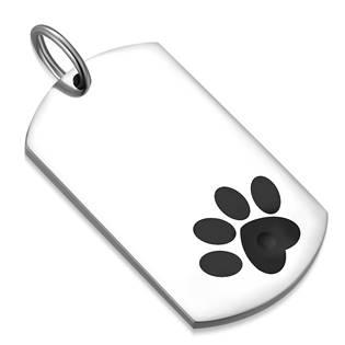 Ocelový přívěšek - destička se psí tlapkou 21 x 36 mm